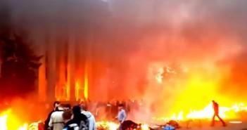 Brennendes Gewerkschaftsgebäude in Odessa am 2. Mai 2014 / Bild: Amateuraufnahme, Screenshot YouTube