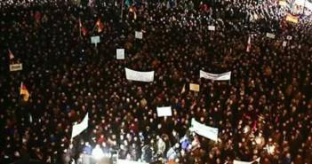 PEGIDA am 8.12.2014 mit über 10.000 Teilnehmern. Foto: Kathleen
