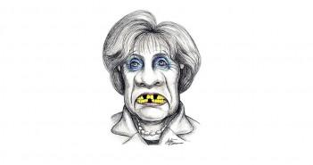 Merkel-Karikatur (Bild: Stefan Kahlhammer, commons.wikimedia.org)