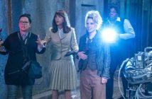 Die Schauspielerinnen Melissa McCarthy (Abby), Kristen Wiig (Erin), Kate McKinnon (Holtzmann) und Leslie Jones (Patty) in einer Szene des Films «Ghostbusters». Der Film kommt am 04.08.2016 in die deutschen Kinos. (c) dpa