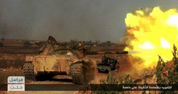 Al Nusta-Panzer beschießt srische Regierungstruppen im Süden Aleppos. picture alliance / AP Photo