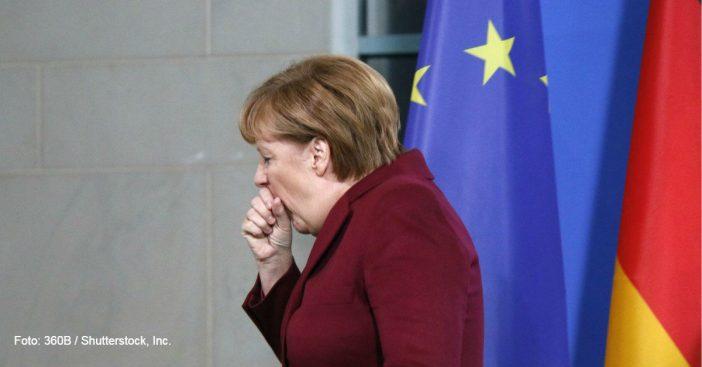 Merkel vor EU und Deutschlandfahne