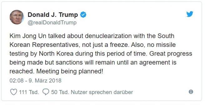 trump korea twitter